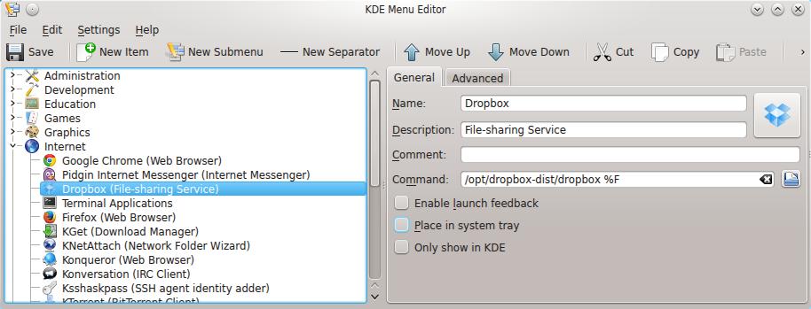KDE Menu Editor